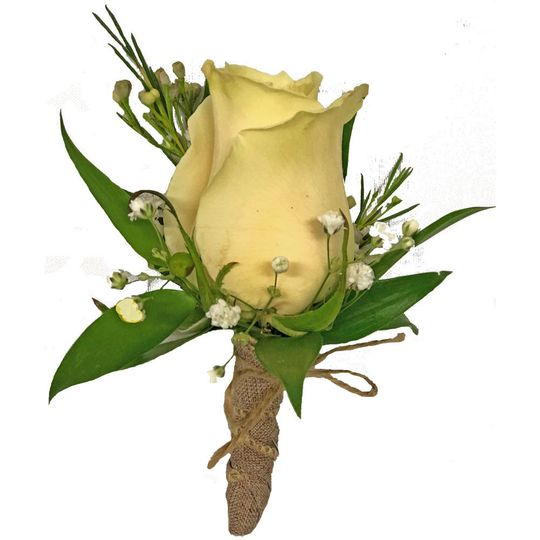 White Rose Boutonniere w/ Wax Flower, Babys Breath, and Greenery. Wrapped w/ Twine.