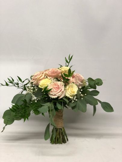 Bridal Bouquet  w/ White and Blush Roses, Mixed Greenery, and Babys Breath.  Wrapped w/ Burlap and...