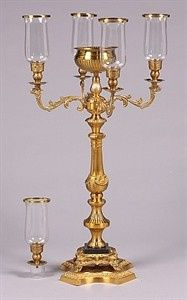 Our Ultimate Antique Gold Victorian Style Candelabra with Marble Embellishment 35 Inch High...