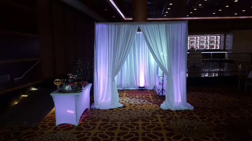 White curtain photo booth