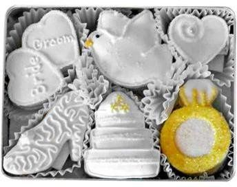 Beautiful wedding cookies will impress your guests. Available in large tins or individually wrapped.