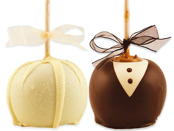 The Bride and Groom Gourmet Caramel Apples are decorated to look as if it were a bride in her...