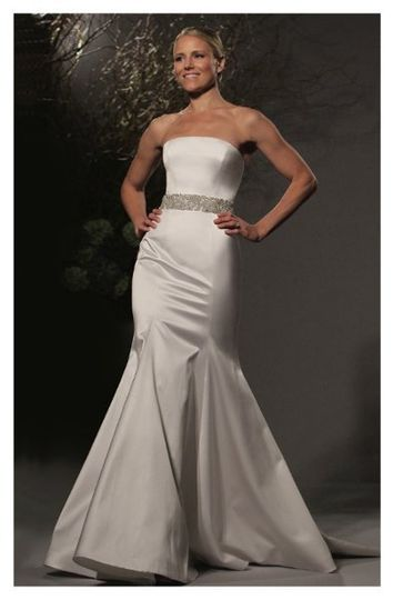 L239 - Strapless gown made of silk satin, features a straight neckline and a fluted shaped skirt...