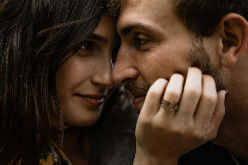 Closeup of the couple