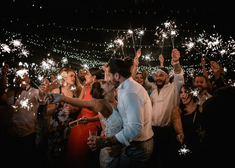Celebrating with sparklers