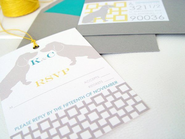 Custom RSVP Hangtag with Beagle Silhouettes and geometric design