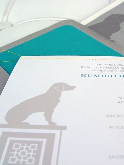 Custom Beagle Silhouette invitation front with yellow thread stitched detail and custom beagle...