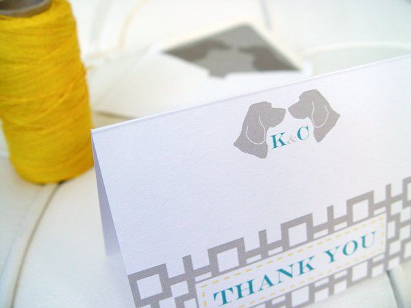 Custom Beagle silhouette thank you cards with geometric design. Custom beagle silhouette envelope...