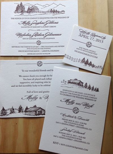 Custom Letterpress Wedding Invitations. 1-color Invitation 1-color Reply Card 1-color Map/ Detail...