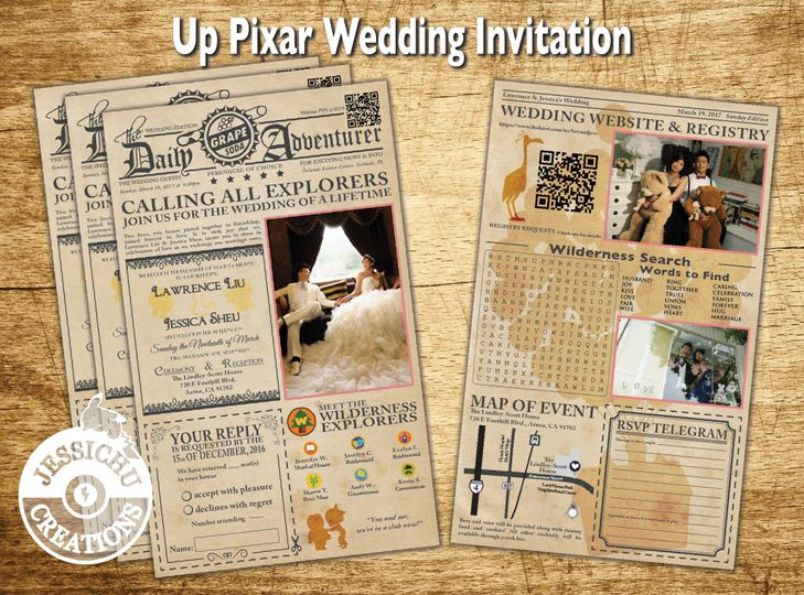 Pixar Newspaper Invitation