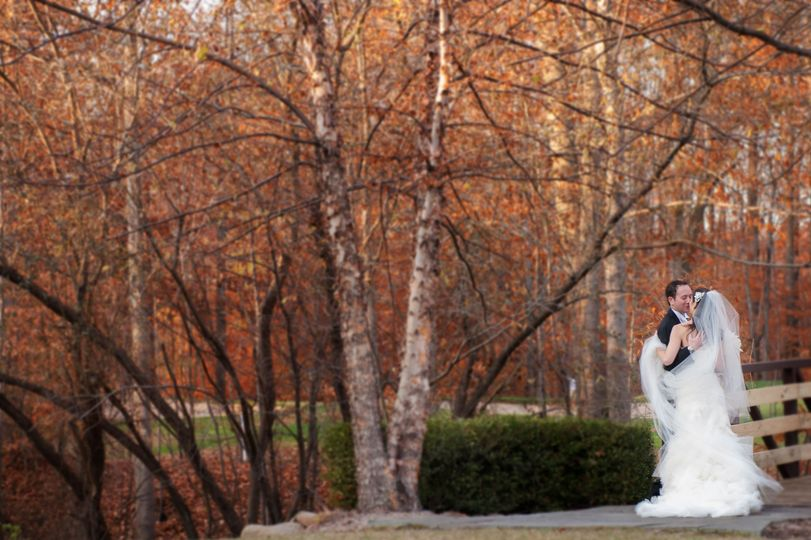 Newlyweds in the autumn