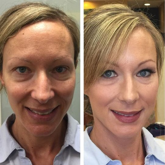 Before and after makeup transformation