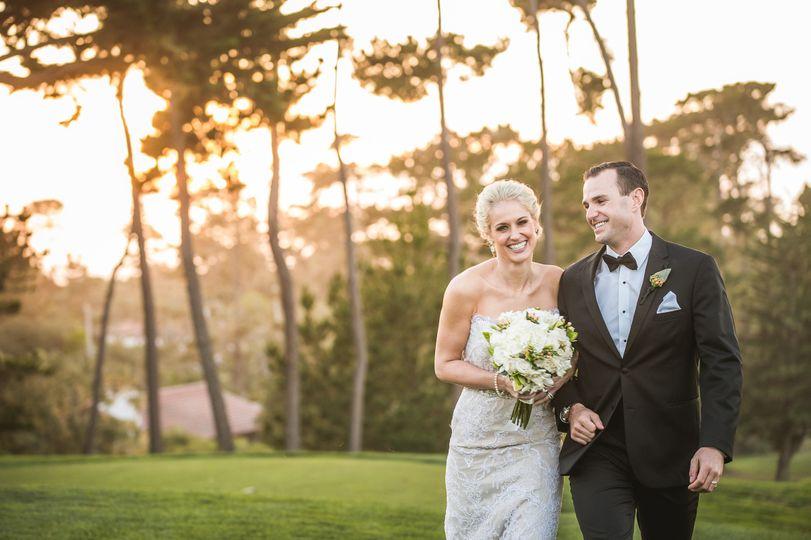 pebble beach wedding photographer green and orange