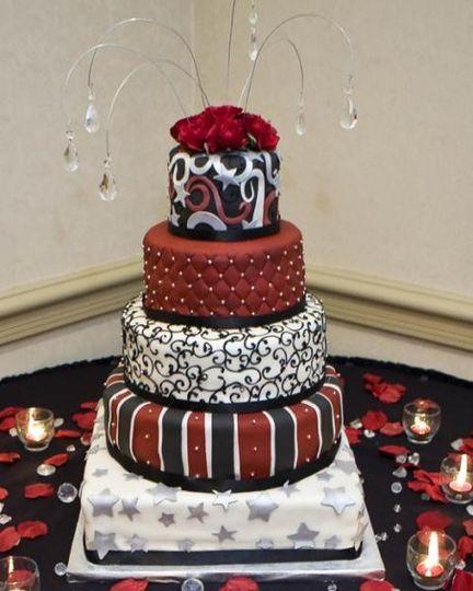 5 layered colorful wedding cake
