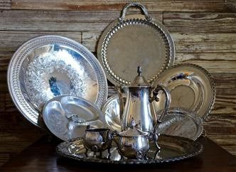 Silver plates and kettle