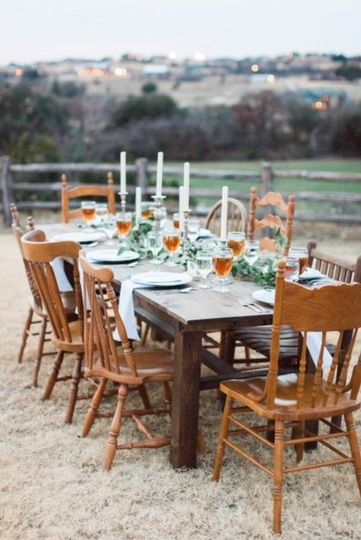Farm table & wooden chairs