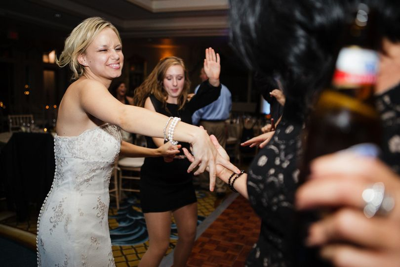 Bride dancing with her ladies