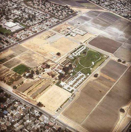 An aerial view of the farm