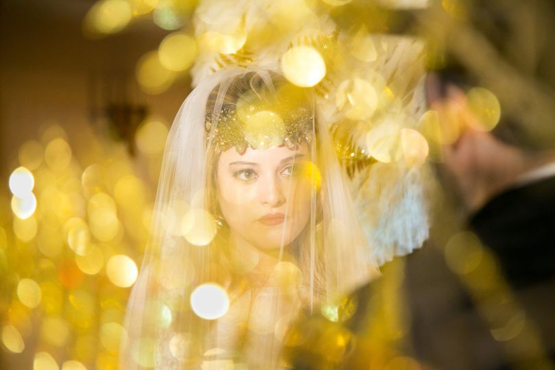 bride in golden glow