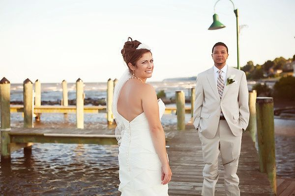 Newlyweds on the dock