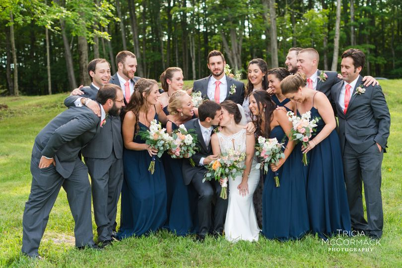 The happy couple with their bridal party