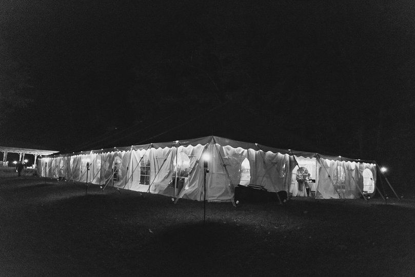 The tent glows while guest's dance the night away!