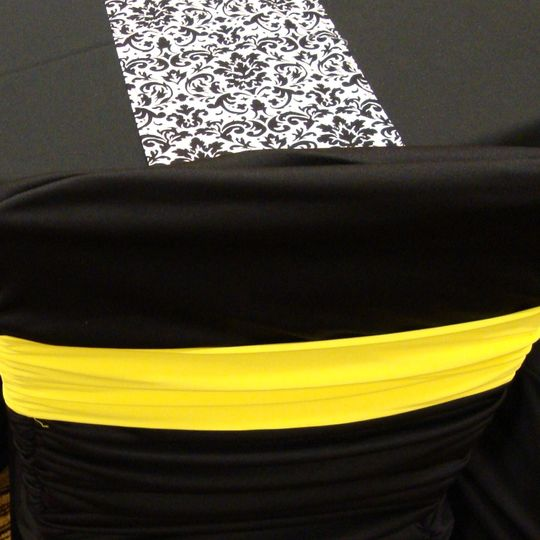 canary yellow band on black ruched cover black wh