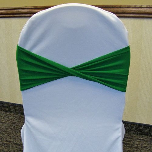 emerald kelly green spandex chair band twisted whi