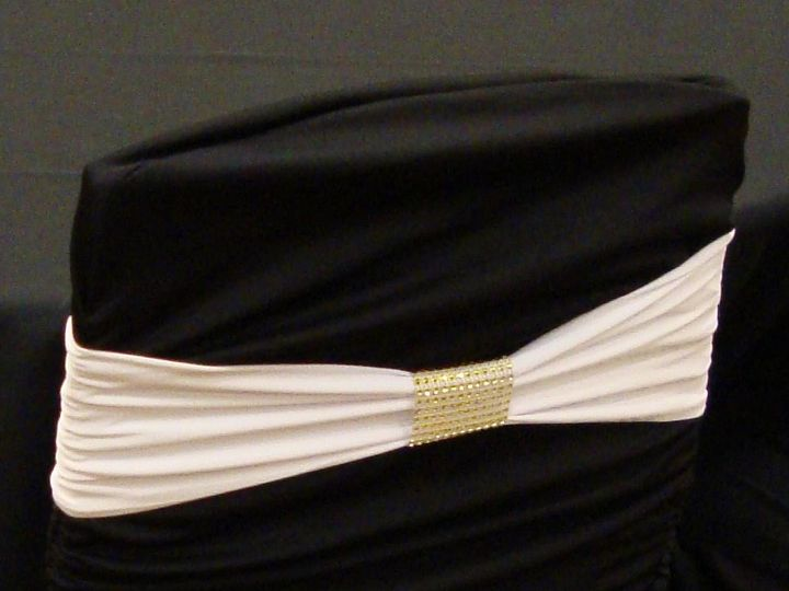 Tmx 1405207188787 White Band On Black Ruched Cover With Gold Bracele Mankato wedding rental