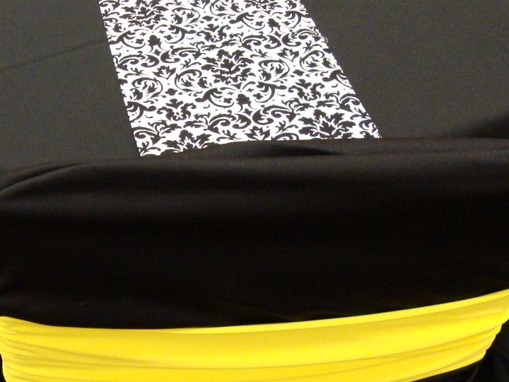 Tmx 1405207956527 Canary Yellow Band On Black Ruched Cover Black  Wh Mankato wedding rental