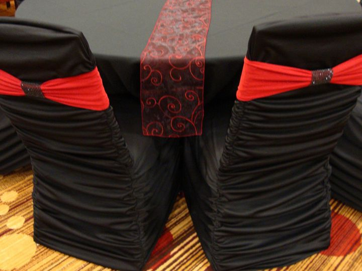 Tmx 1405207987281 Red Band On Black Ruched Cover With Black Bracelet Mankato wedding rental