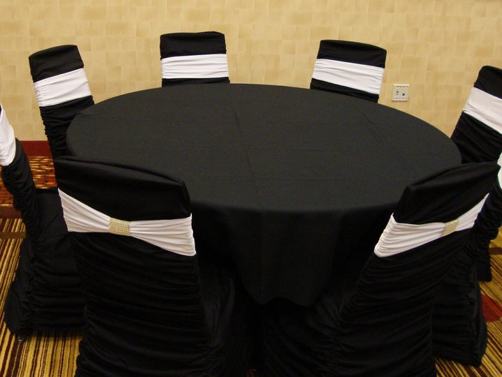 Tmx 1405207998574 White Band On Black Ruched Cover With Gold Bracele Mankato wedding rental