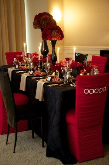 Red And Gold Wedding Table Decorations Photograph | ... 1381
