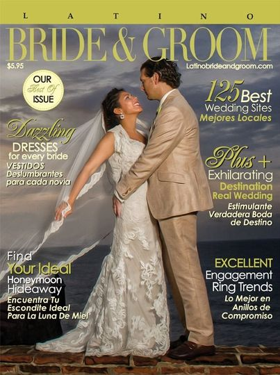 Bride and Groom on Cover of Latino Bride & Groom 2012     Evette and Stephen
