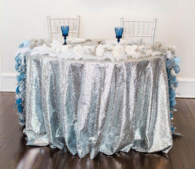 Silver Tablecloth and Chiavari