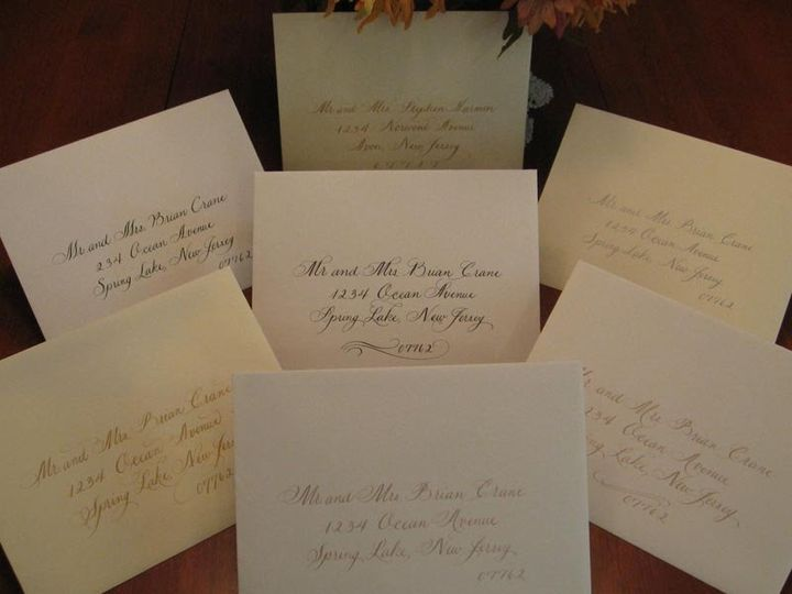 Tmx 1352816801383 LetteringonCraneEnvelopes3 Belmar, NJ wedding invitation