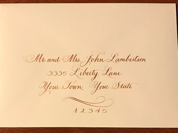 Tmx 1504220766469 Sample 4 Copper Ink On Ecru Envelope Belmar, NJ wedding invitation