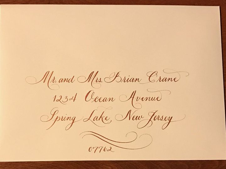 Tmx 1504220781969 Sample 6 Copper Ink On Ecru Envelope Belmar, NJ wedding invitation