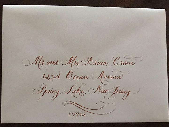Tmx 1504220789297 Sample 7 Copper Ink With Flourish Belmar, NJ wedding invitation