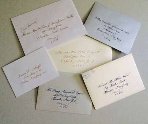 Tmx 1504220796656 Calligraphy On Shimmery Envelopes Belmar, NJ wedding invitation