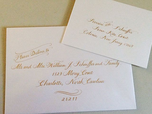 Tmx 1504220802757 Gold Ink On Pearescent Envelopes From The Papery Belmar, NJ wedding invitation