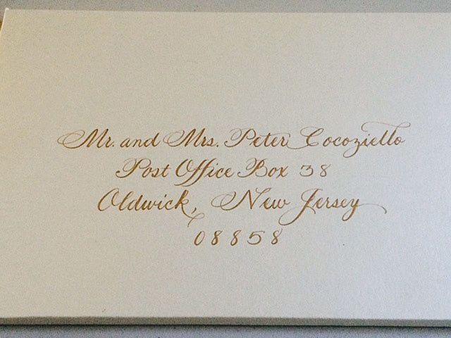 Tmx 1504220808614 Gold Ink On Shimmery Envelope Box Belmar, NJ wedding invitation