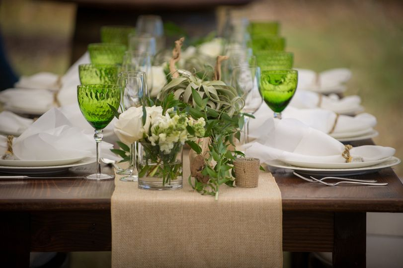 Long table set up with centerpiece