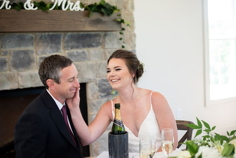 A candid shot of the bride and groom