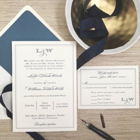 monogram navy border wedding invitation