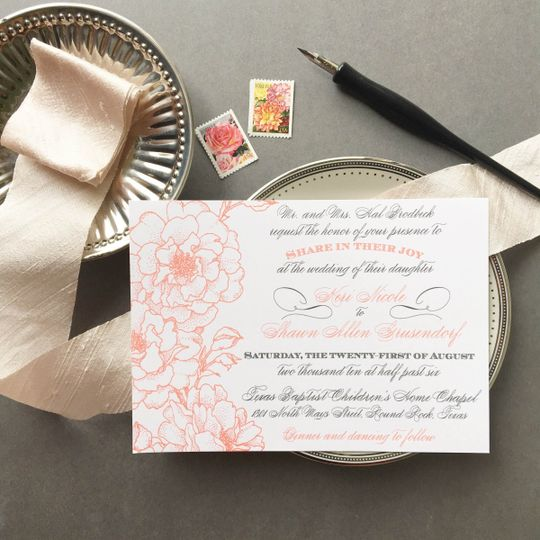 coral gray garden wedding invitation