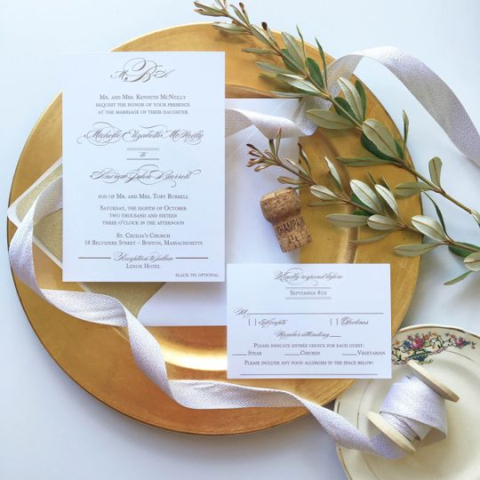 gold monogram wedding invitation suite