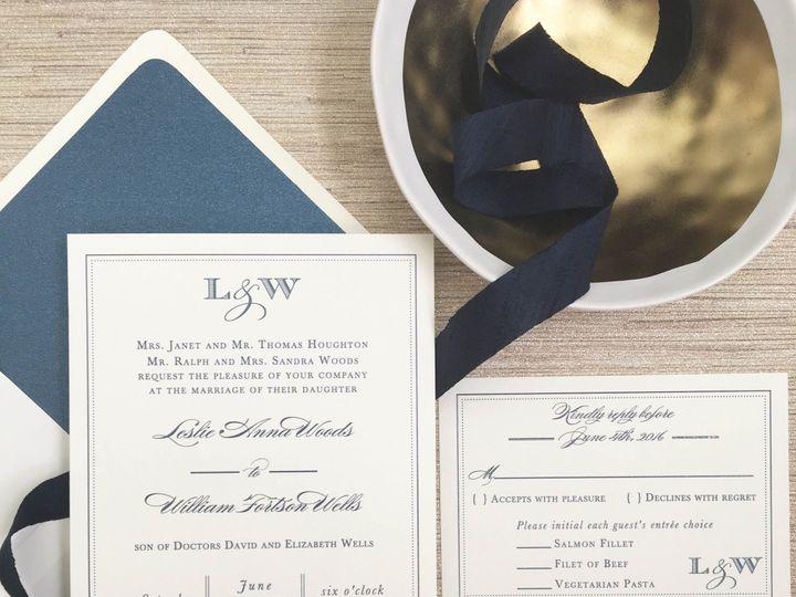 Tmx 1477604704842 Monogram Navy Border Wedding Invitation Castle Rock, CO wedding invitation