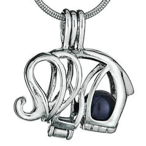 "This popular 18K white gold plated elephant cage comes with an 18"" silver plated snake chain! It can..."