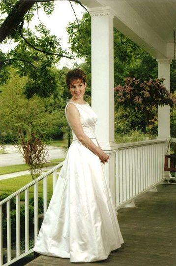 Bride posing outdoors